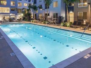 Evening apartment pool lights
