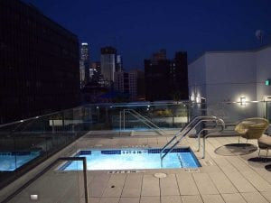 Luxury apartment patio spa Los Angeles
