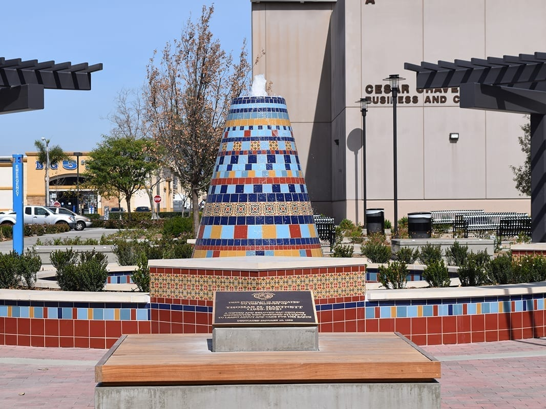 College memorial tiled fountain