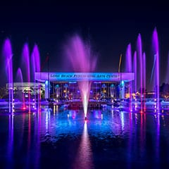 Water feature show fountain at the Long Beach Performing Arts Center